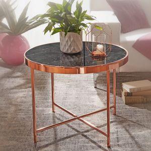 WOHNLING Design Beistelltisch Rund Ø 60 cm in Marmor Optik Schwarz | Wohnzimmertisch mit Metallgestell in Kupfer | Runder Couchtisch Wohnzimmer