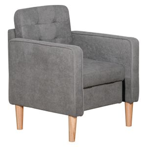 HOMCOM Einzelsessel Relaxsessel mit Stauraum Fernsehsessel Polstersessel Sofa Holzfüße Polyester Grau 67,5 x 62 x 78 cm