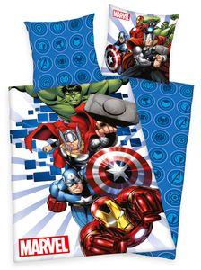 Marvel The Avengers Bettwäsche 80x80 + 135x200cm 100% Baumwolle mir Reißverschluss