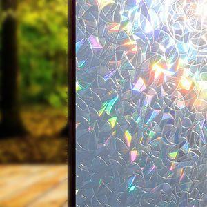 Fensterfolie Nachbildungfolie Sichtschutzfolie Blickdicht Hochwertige Ohne Klebstoffe 3D Regenbogenfarben Effekt unter Licht, Statisch Folie Anti-UV 45 * 200cm