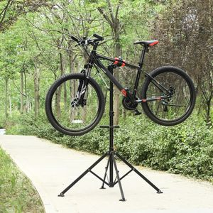 SONGMICS Fahrradständer 141,5 x 141,5 x 102-172 cm einfacher Transport | Reparaturständer mit magnetischer Werkzeugschale schwarz-rot SBR05B