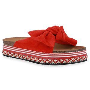 Giralin Damen Sandaletten Pantoletten Schleifen Ethno Look Plateau Schuhe 836656, Farbe: Rot, Größe: 39