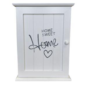 Schlüsselschrank 'Home Sweet Home' mit 6 Haken - Weiß