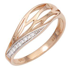 JOBO Damen Ring 585 Gold Rotgold teilrhodiniert 8 Diamanten Brillanten Goldring Größe 52