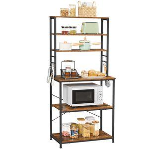 VASAGLE Küchenregal mit Ablagen mit 6 Haken und Metallrahmen, 80 x 40 x 167 cm, vintagebraun-schwarz KKS019B01