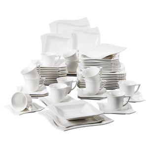 MALACASA Kombiservice »AMPARO« 60-tlg. Cremeweiß Porzellan Tafelservice mit Kaffeetassen, Untertassen