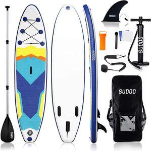 Triclicks SUP Aufblasbares Stand Up Paddle Board Paddling Board Surfboard mit Verstellbares Paddel, Handpumpe mit Druckmesser, Leash, Finner, Rucksack, 300 x 76 x 15cm