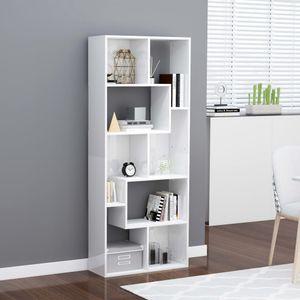 Bücherschrank Bücherregal Wohnzimmerschrank Hochglanz-Weiß 67x24x161 cm Spanplatte