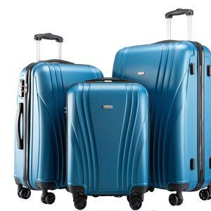 3er Reisekoffer Set - Farbe Blau Größe M L XL Kofferset Hartschale Trolley Koffer mit TSA-Schloss, Griff und 360° Rollen