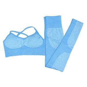 Yoga-Outfits Für Frauen 2-teiliges Set Workout-Leggings Sport-BH M Blau M. Fitnessanzug