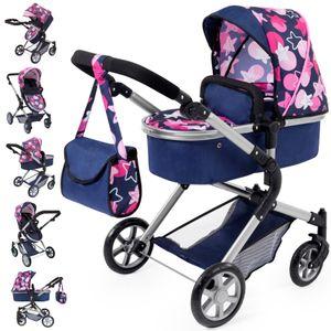 Puppenwagen City Neo blau mit rosa Sternen