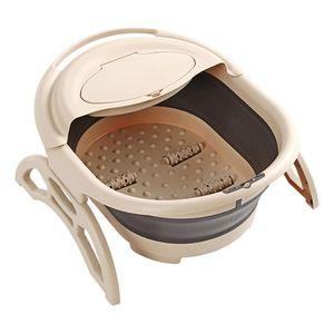 Faltbares Fußbad-Becken mit Deckel Fußbadeimer aus Kunststoff Faltbare Fußwanne zum Einweichen der Fußmassage Pediküre Farbe Khaki