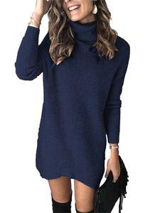 Damen Mittellanges Strickpullover-Damenhemd mit hohem Halsausschnitt,Farbe: Königsblau,Größe:M