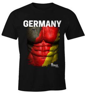 EM T-Shirt Herren Fußball Deutschland Flagge Fanshirt Waschbrettbauch Moonworks®  XL