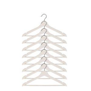 Holzkleiderbügel drehbar mit Hosensteg Weiß , Mengen:8 Stück