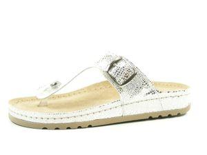 Rohde Riesa 5807-89 Damen Pantoletten Zehentrenner Weite G , Größe:37 EU, Farbe:Silber