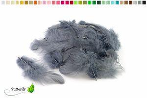 Bastelfedern 5-10cm, ca. 80-100 Stück, Farbauswahl:silber / grau 077
