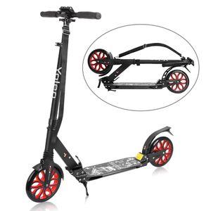 Yoleo Big Wheel Scooter CityRoller - mit Doppel Federung - klappbar und Höhenverstellbar, Kickscooter Tretroller für Erwachsene und Kinder - Rot