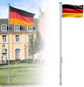 LARS360 Aluminium Fahnenmast Flaggenmast Flagge Mast Schule Stabil 6,5m inkl Deutschlandfahne 150 * 80cm, Bodenhülse 50cm