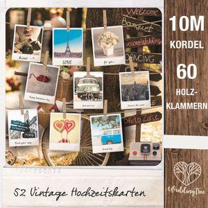 WeddingTree 52 Postkarten Hochzeit Vintage inklusive 10m Schnur und 60 Klammern- Postkarten Set A6 - für 52 Wochen