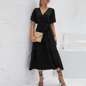 Damen Bowknot Kleid Casual V-Ausschnitt Rüschen Kurzarm Beachwear,Farbe: Schwarz,Größe:M