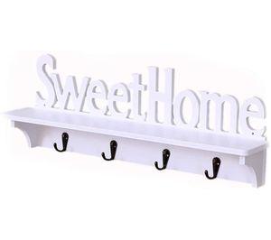 Schlüsselbrett mit Ablage, Sweet Home Schlüsselablage Schlüsselboard Weißer Haken Wandbehang des Regals Vier Home Deko