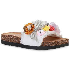 Giralin Damen Sandalen Pantoletten Flache Sommer Strass Schleifen Schuhe 836694, Farbe: Weiß, Größe: 38