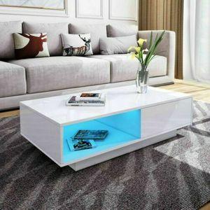 LED Couchtisch Weiß Kaffeetisch Hochglanz Wohnzimmertisch Sofatisch & Schublade Ablage