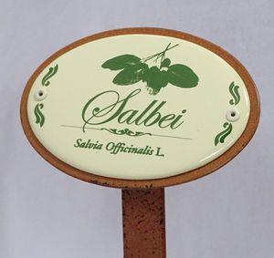 Kräuterschild Kräuterstecker Emaille, Salbei, Erdspieß 30 cm