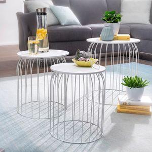 FineBuy Design Beistelltisch 3er Set aus Körben Couchtisch   Moderne Korbtische mit abnehmbaren Tablett   Satztisch 3-teilig mit Stauraum, Farbe Artikel:Weiß