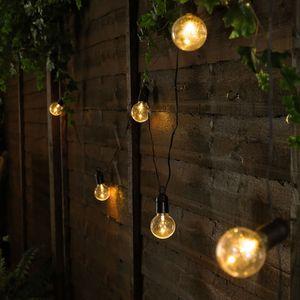5m G50 20er Globe LED Glühbirnen Warmweiß Lichterkette Innen Außen Party Deko Lichterketten, Transparent Kugel