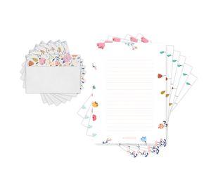 Friendly Fox Briefpapier BLUMEN - Briefpapier Set edel mit Umschlägen & Blumen Motiv - 20 Briefbögen mit 20 Umschlag - A4 Briefpapier für Kinder und Erwachsene