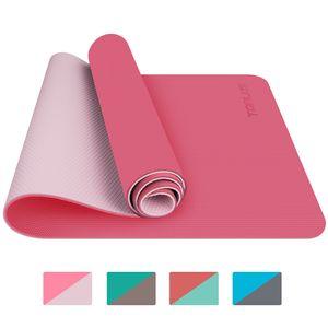TOPLUS Preumium Yogamatte aus hochwertigen TPE, rutschfest Yogamatte Gynastikmatte Übungsmatte Sportmatte für Yoga, Pilates, Fitness usw. (183x61x0.6cm), Pink