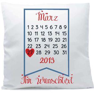 Kissen mit Namen oder Wunschtext Kalender 40x40 cm inkl. Füllung Kuschelkissen Liebe Jahrestag Hochzeit, Kissen Farbe:Vorderseite weiß / RS schwarz