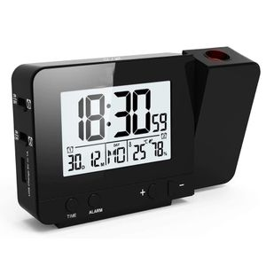 Digital Projektionswecker mit Temperatur und Zeit-Projektion/USB-Anschluss/Innentemperatur und Luftfeuchtigkeit