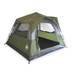 Lumaland Leichtes Outdoor Pop Up Comfort Zelt Wurfzelt für 3 Personen Zelt Camping Festival Sekundenzelt 210x210x140cm Tragetasche Grün