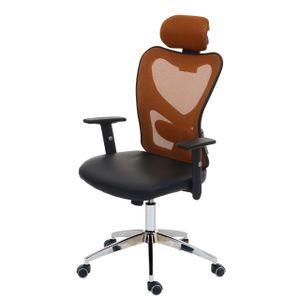 Profi-Bürostuhl Pamplona, Chefsessel Drehstuhl Schreibtischstuhl, Kunstleder  braun