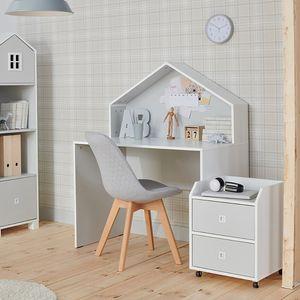 Selsey Kommode Mirum - Rollcontainer für Kinderzimmer in Weiß-Grau mit 2 Schubladen