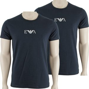 Emporio Armani 2P Rundhals T Shirts mit Logo     2x dunkelblau/LOGO weiß           XXL