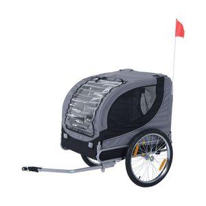 PawHut Hundeanhänger Fahrradanhänger Hundetransporter Hunde Fahrrad Anhänger Grau 130 x 73 x 90 cm