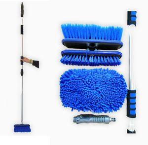 Professional Wasserbesen mit Schlauchanschluss und Teleskopstiel, Waschbürste Autowaschbürste, 97-163cm ausziehbar