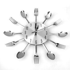 Moderne Einzigartige Aluminium-Löffel Gabel Uhr Besteck Küche Wanduhr Silber