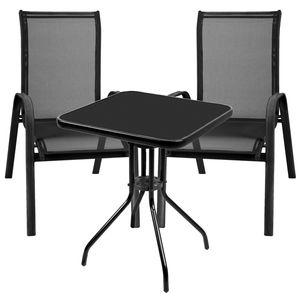 3-teilige Bistro Sitzgarnitur mit Stapelstühle Schwarz