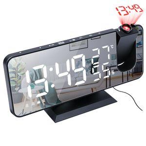 LED Radiowecker Projektionswecker Temperatur Alarm FM Radio Projektor Rojektionswecker Großbildanzeige Temperatur
