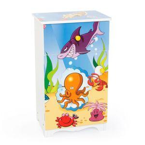 Homestyle4u 1124, Kinderkommode Meer Fische , Kinderschrank mit 1 Schublade und 1 Fach für Kinderzimmer , Holz Weiß Bunt