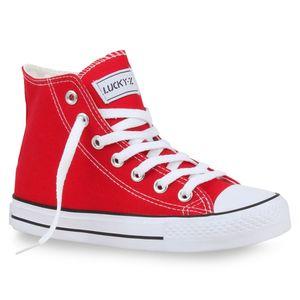 Mytrendshoe Damen High Top Sneakers Sportschuhe Kult Schnürer 94589, Farbe: Rot, Größe: 41