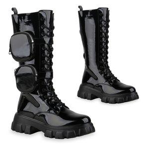 Mytrendshoe Damen Plateaustiefel Leicht Gefütterte Stiefel Schnürer Schuhe 835828, Farbe: Schwarz, Größe: 38