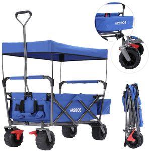AREBOS Bollerwagen Faltbar mit Dach Standard Handwagen Klappbar Gerätewagen Blau