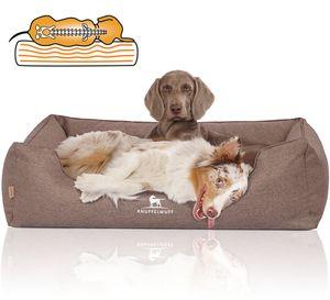 Knuffelwuff Orthopädisches Hundebett Wippo aus Velours mit Handwebcharakter XXL 120 x 85cm Potatoe