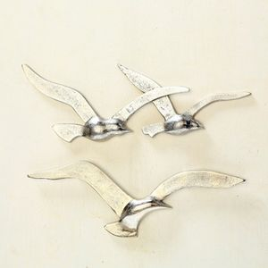 Wand Dekoration, Vogel Design, silber, B 35 cm